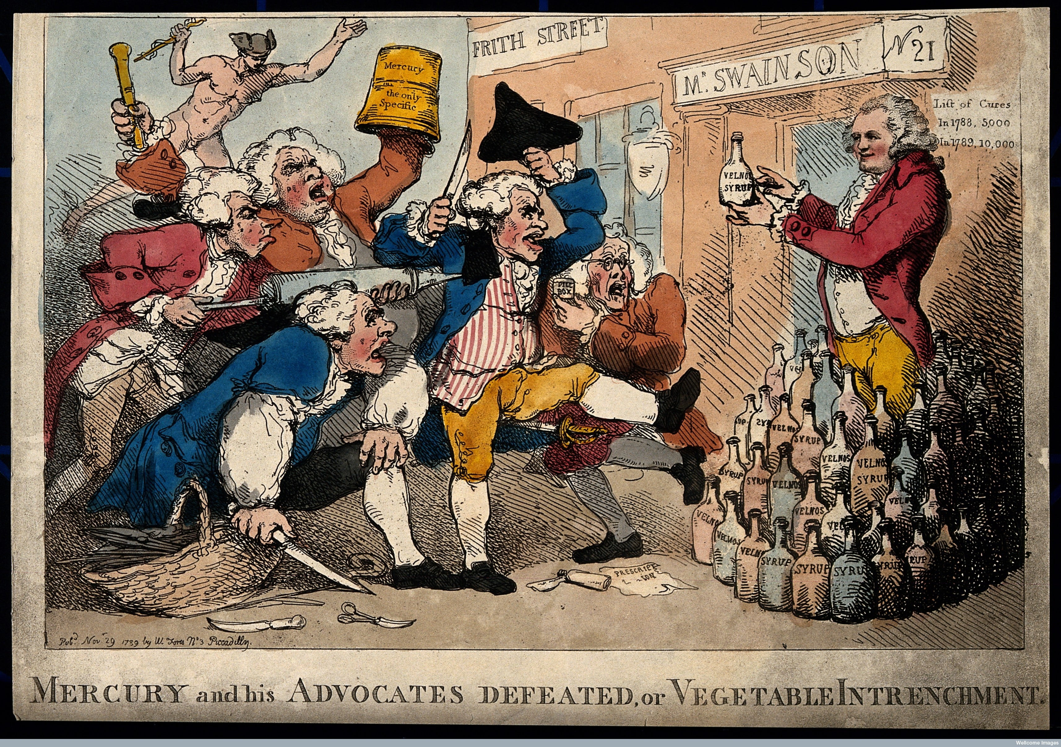 Isaac Swainson promoting his 'Velno's Vegetable Syrup', facing an onslaught of rival practitioners advocating mercury.
