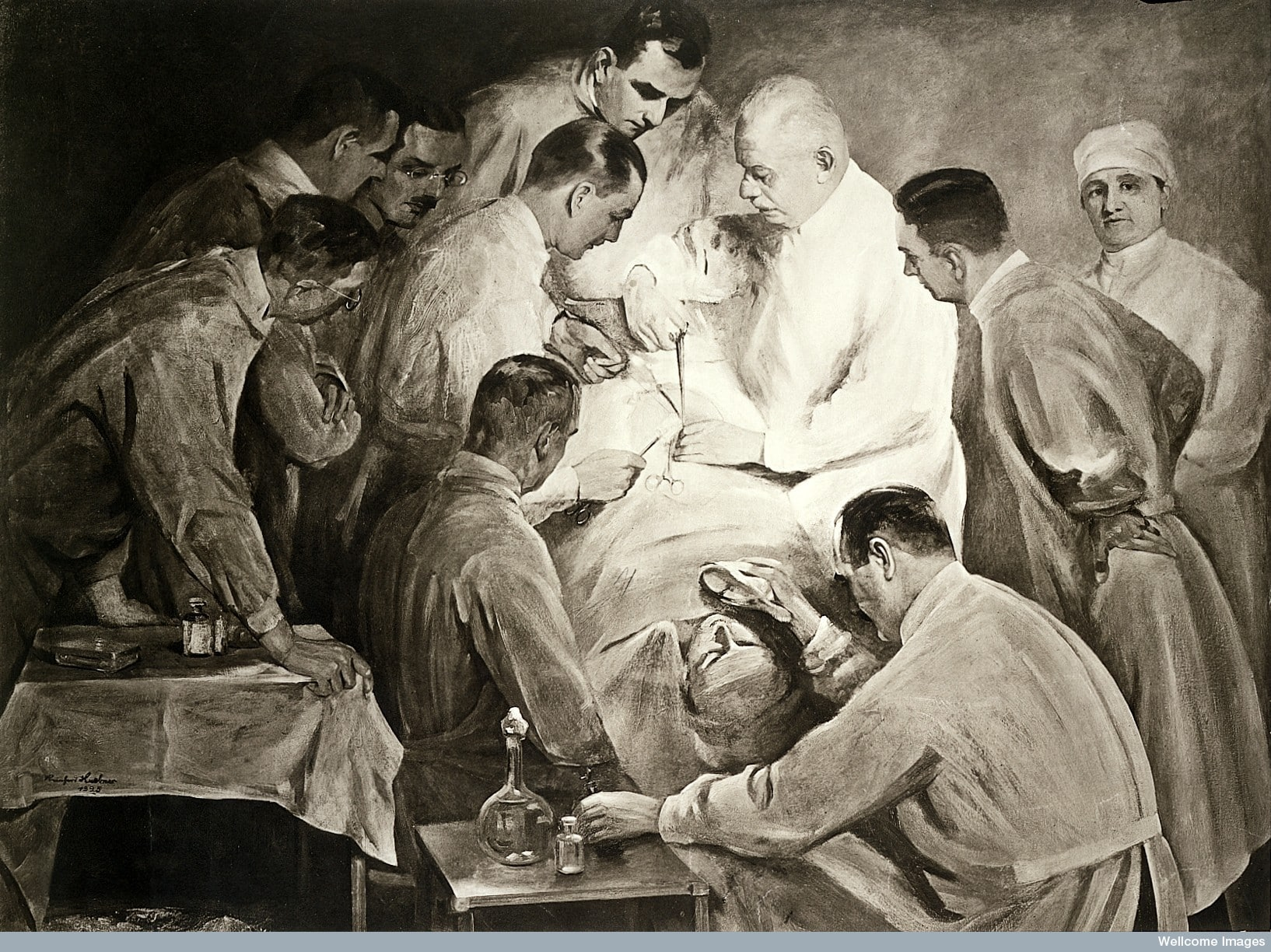 Professor Ernst Bumm operating on a male patient, other doctors monitor the patient's condition. Photogravure, 1920.